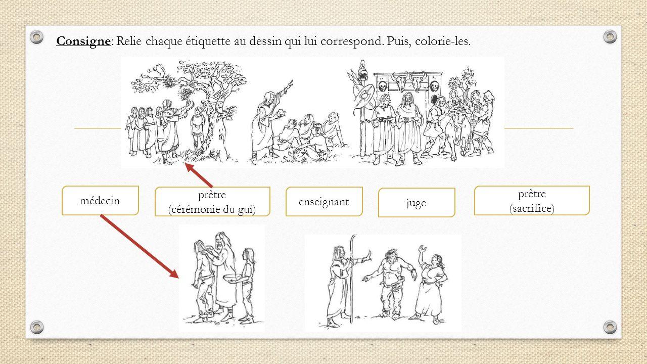 Consigne: Relie chaque étiquette au dessin qui lui correspond. Puis, colorie-les. enseignant prêtre (cérémonie du gui) prêtre (sacrifice) juge médecin