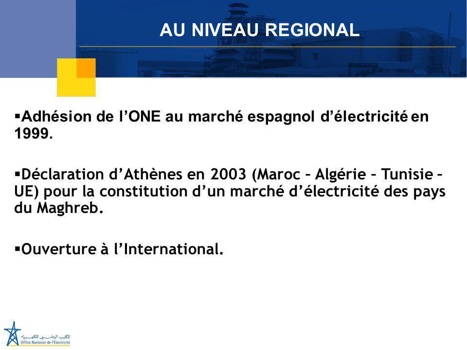 Juillet 2005  Adhésion de l'ONE au marché espagnol d'électricité en 1999.  Déclaration d'Athènes en 2003 (Maroc – Algérie – Tunisie – UE) pour la co