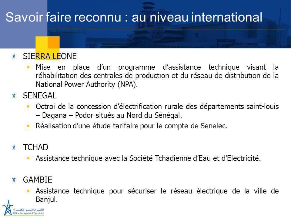 Juillet 2005 SIERRA LEONE  Mise en place d'un programme d'assistance technique visant la réhabilitation des centrales de production et du réseau de d