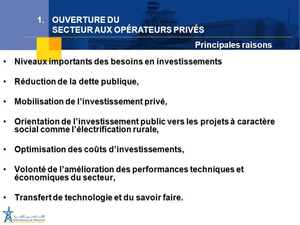 Juillet 2005 Niveaux importants des besoins en investissementsNiveaux importants des besoins en investissements Réduction de la dette publique,Réducti