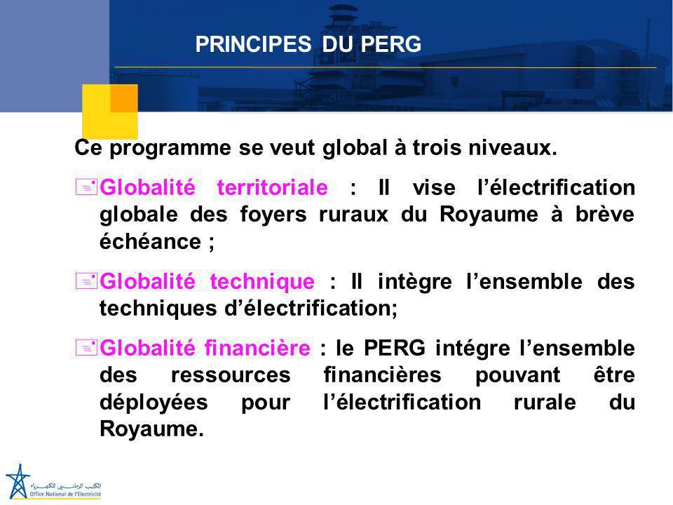 Juillet 2005 Ce programme se veut global à trois niveaux. +Globalité territoriale : Il vise l'électrification globale des foyers ruraux du Royaume à b