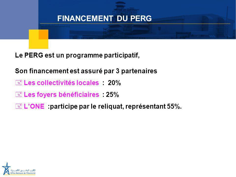 Juillet 2005 Le PERG est un programme participatif, Son financement est assuré par 3 partenaires +Les collectivités locales : 20% +Les foyers bénéfici