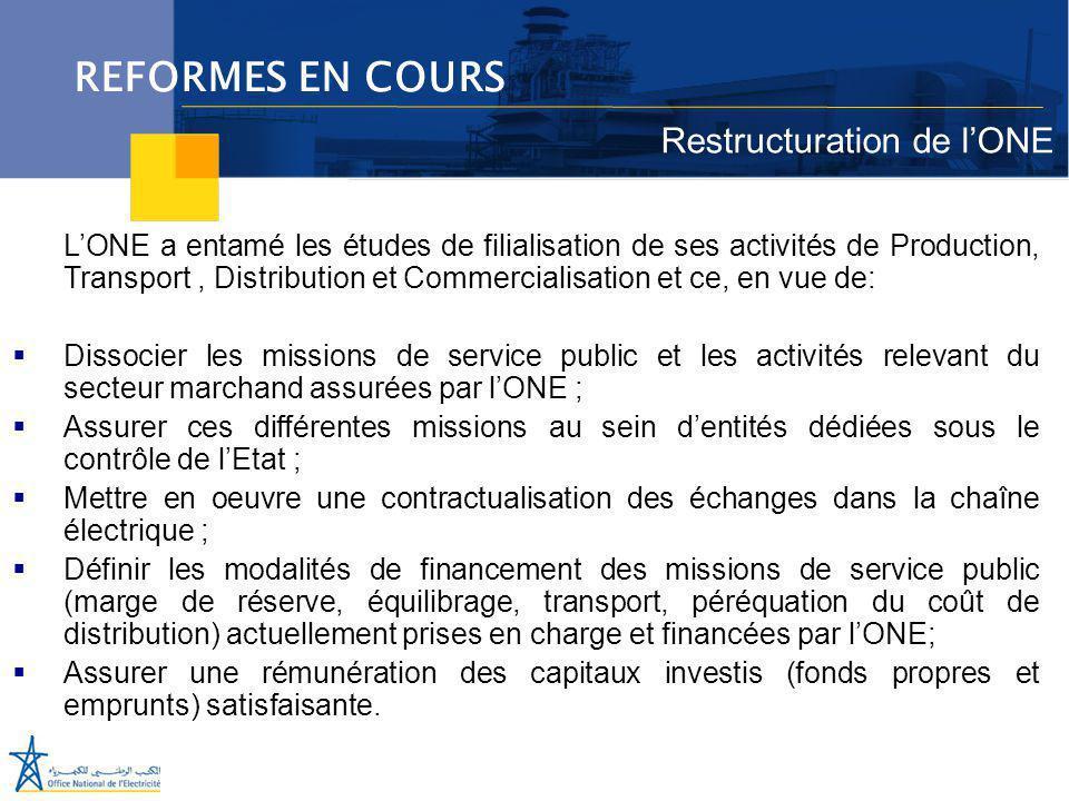 Juillet 2005 L'ONE a entamé les études de filialisation de ses activités de Production, Transport, Distribution et Commercialisation et ce, en vue de: