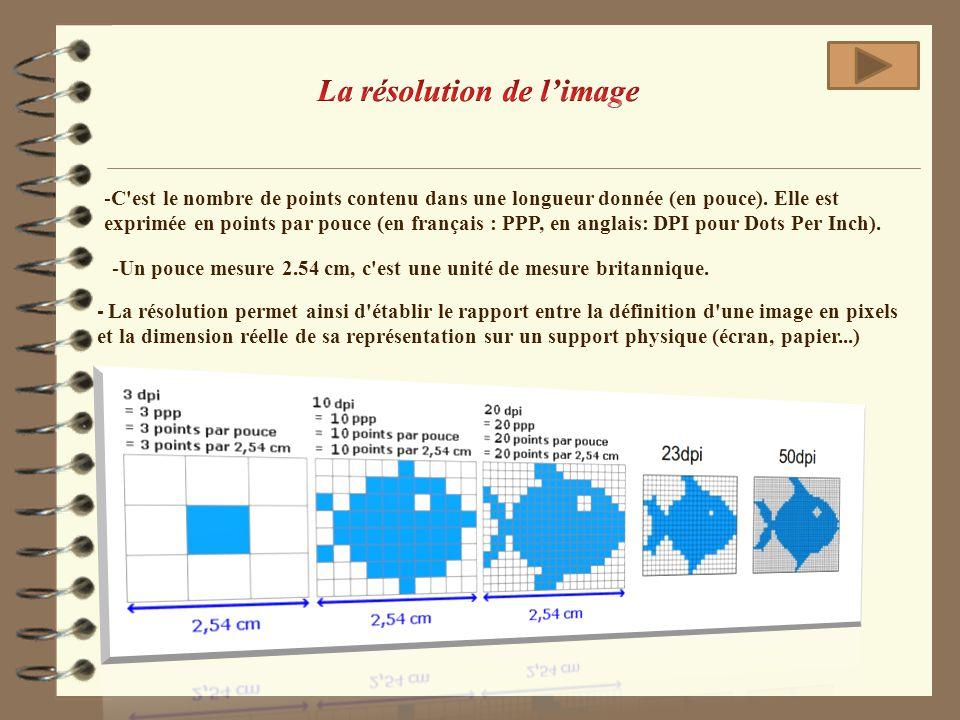 -C'est le nombre de points contenu dans une longueur donnée (en pouce). Elle est exprimée en points par pouce (en français : PPP, en anglais: DPI pour