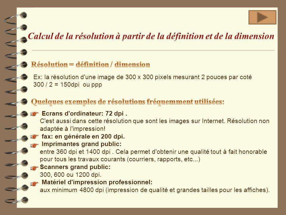 Ex: la résolution d'une image de 300 x 300 pixels mesurant 2 pouces par coté 300 / 2 = 150dpi ou ppp Ecrans d'ordinateur: 72 dpi. C'est aussi dans cet