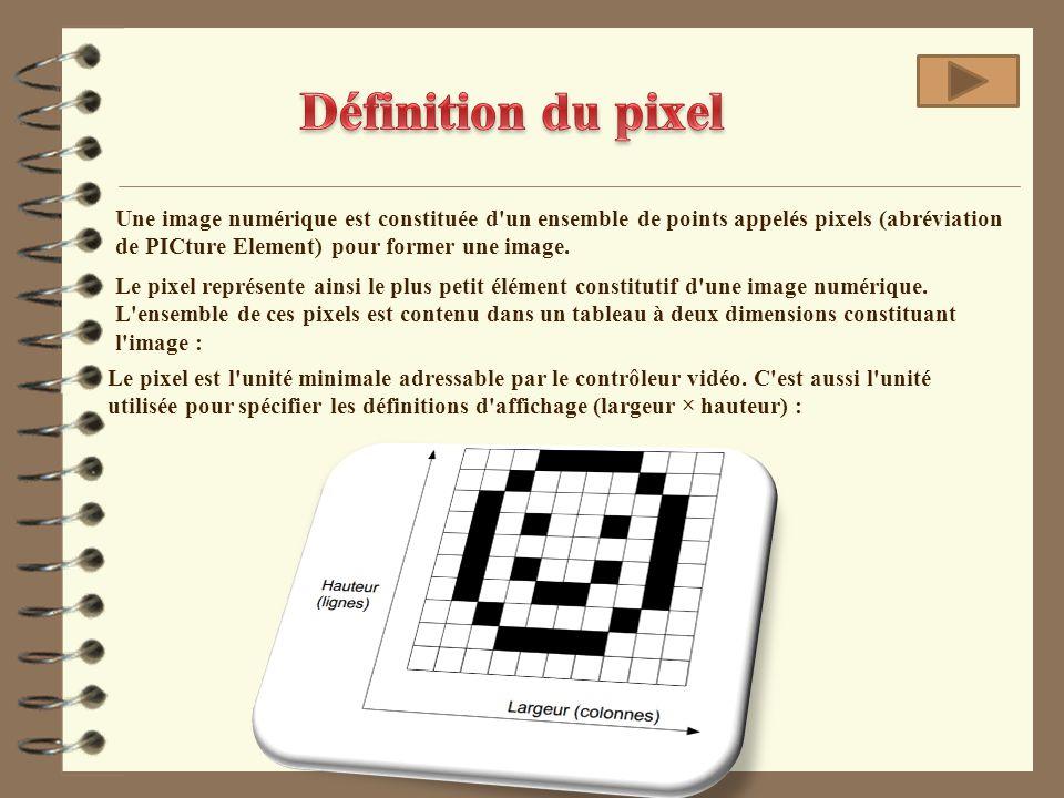 Le pixel représente ainsi le plus petit élément constitutif d'une image numérique. L'ensemble de ces pixels est contenu dans un tableau à deux dimensi