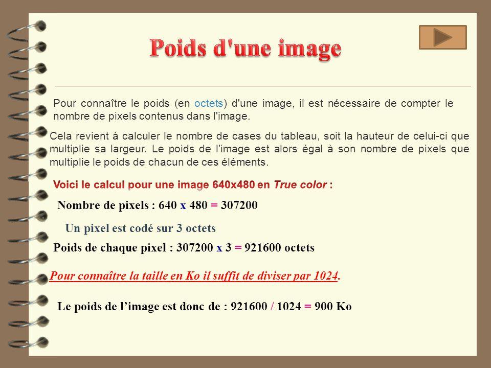 Pour connaître le poids (en octets) d'une image, il est nécessaire de compter le nombre de pixels contenus dans l'image. Nombre de pixels : 640 x 480
