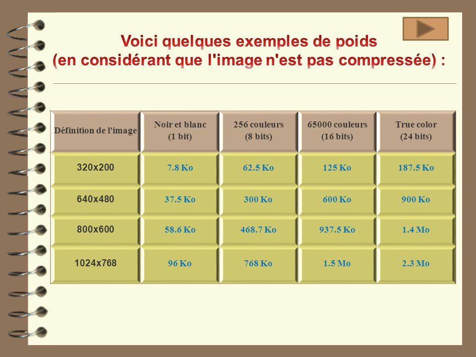 Définition de l'image Noir et blanc (1 bit) 256 couleurs (8 bits) 65000 couleurs (16 bits) True color (24 bits) 320x200 7.8 Ko62.5 Ko125 Ko187.5 Ko 64