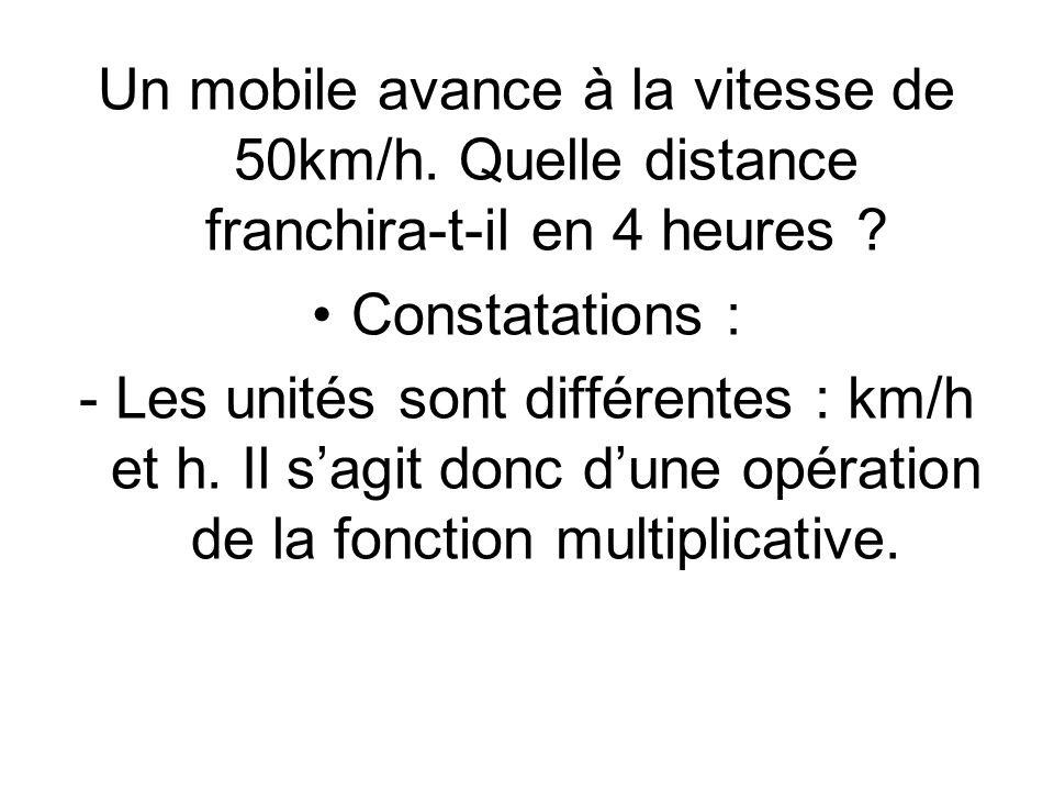 Un mobile avance à la vitesse de 50km/h.Quelle distance franchira-t-il en 4 heures .