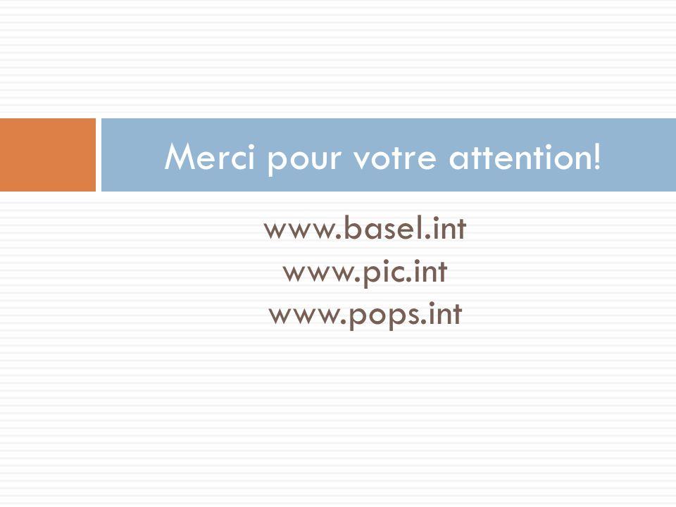 www.basel.int www.pic.int www.pops.int Merci pour votre attention!