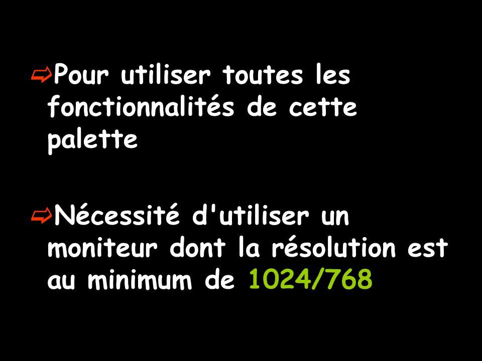  Pour utiliser toutes les fonctionnalités de cette palette  Nécessité d utiliser un moniteur dont la résolution est au minimum de 1024/768