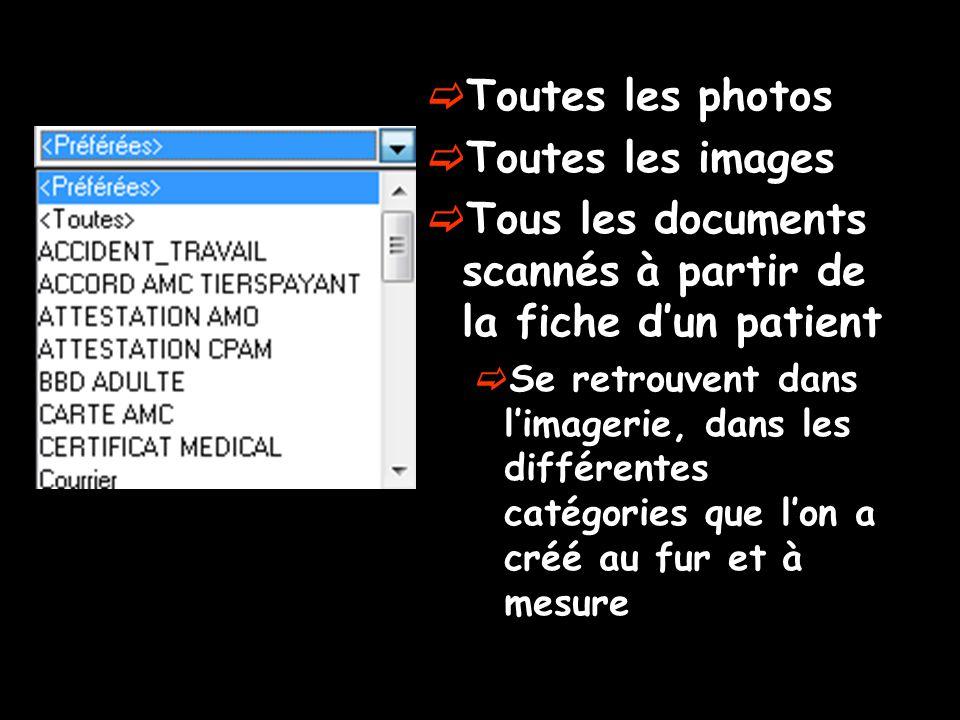  Toutes les photos  Toutes les images  Tous les documents scannés à partir de la fiche d'un patient  Se retrouvent dans l'imagerie, dans les différentes catégories que l'on a créé au fur et à mesure