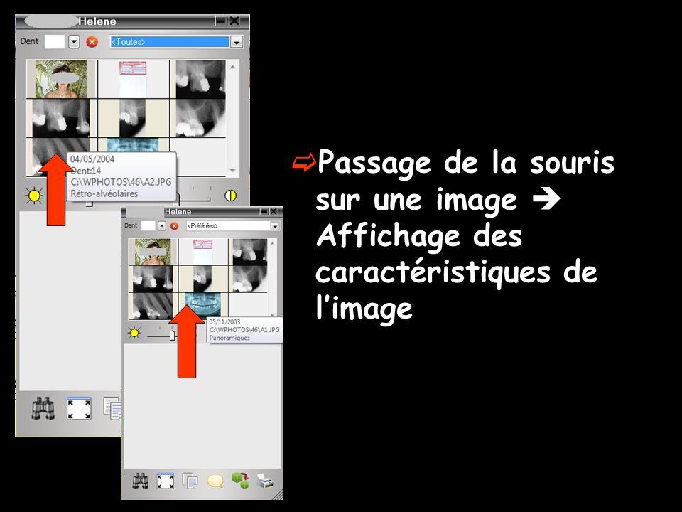  Passage de la souris sur une image  Affichage des caractéristiques de l'image