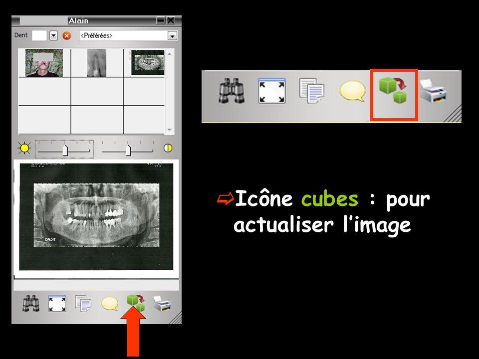  Icône cubes : pour actualiser l'image