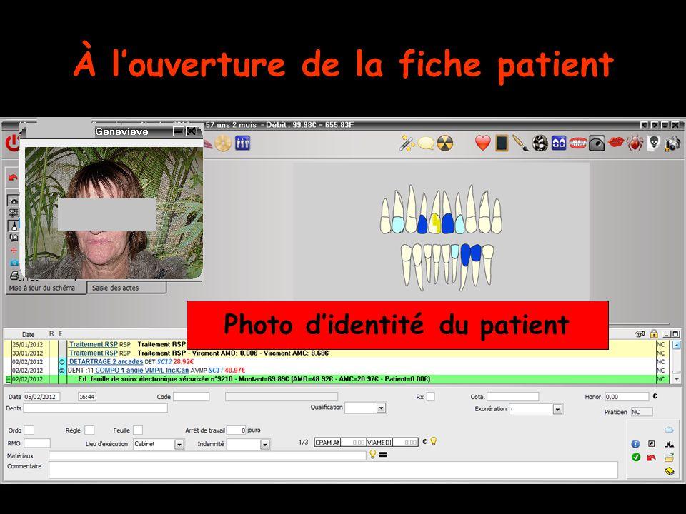 À l'ouverture de la fiche patient Photo d'identité du patient