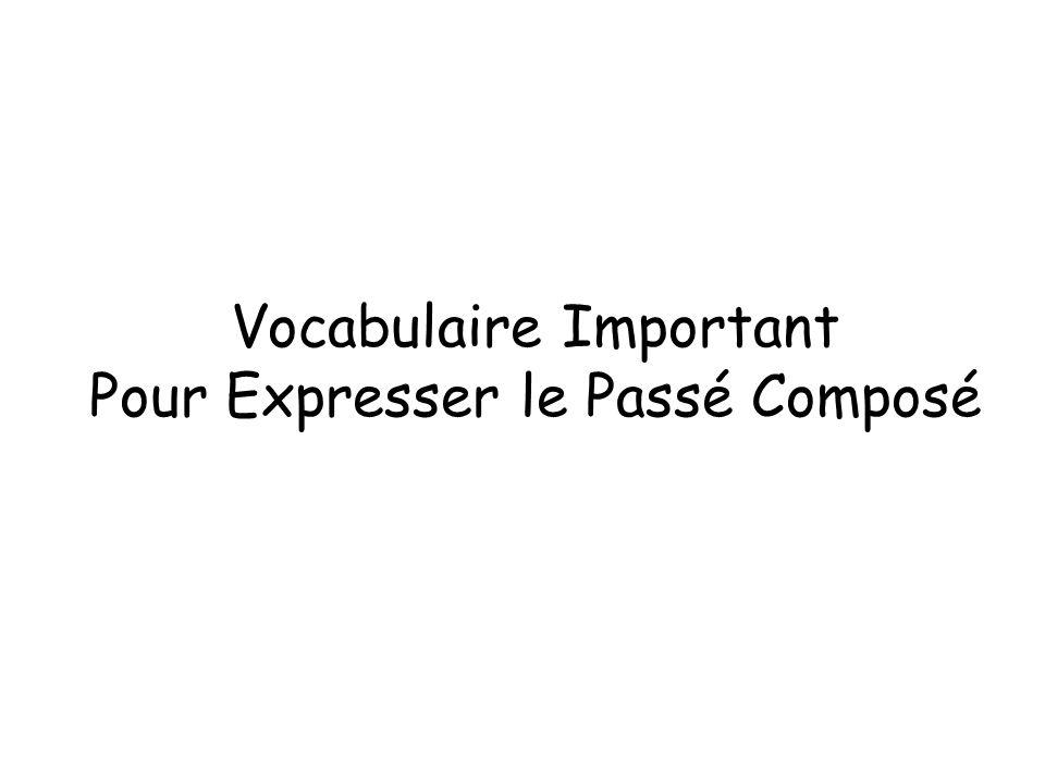 Vocabulaire Important Pour Expresser le Passé Composé