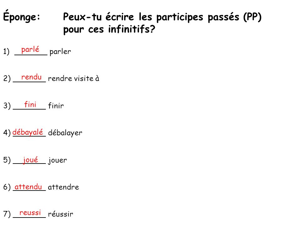Éponge:Peux-tu écrire les participes passés (PP) pour ces infinitifs? 1)_______ parler 2) _______ rendre visite à 3) _______ finir 4) _______ débalaye