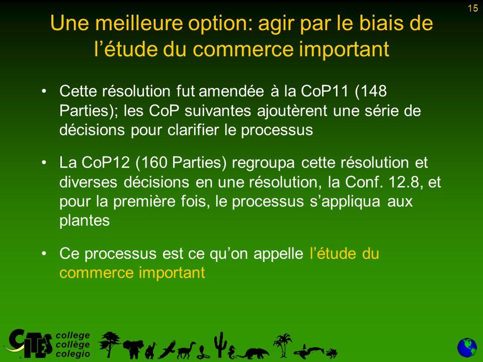 15 Une meilleure option: agir par le biais de l'étude du commerce important Cette résolution fut amendée à la CoP11 (148 Parties); les CoP suivantes ajoutèrent une série de décisions pour clarifier le processus La CoP12 (160 Parties) regroupa cette résolution et diverses décisions en une résolution, la Conf.