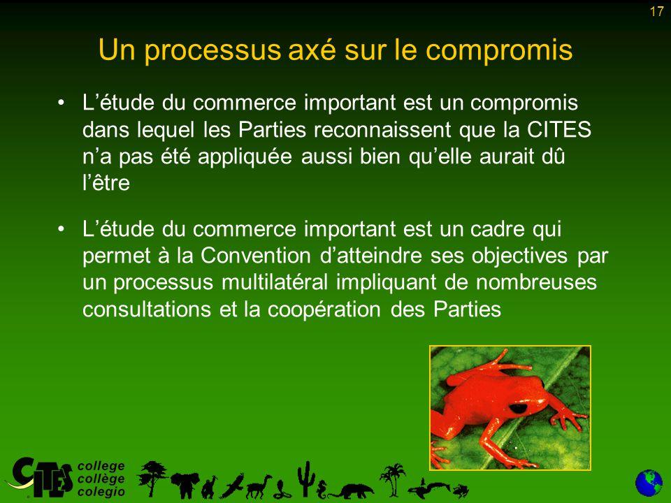 17 Un processus axé sur le compromis L'étude du commerce important est un compromis dans lequel les Parties reconnaissent que la CITES n'a pas été appliquée aussi bien qu'elle aurait dû l'être L'étude du commerce important est un cadre qui permet à la Convention d'atteindre ses objectives par un processus multilatéral impliquant de nombreuses consultations et la coopération des Parties