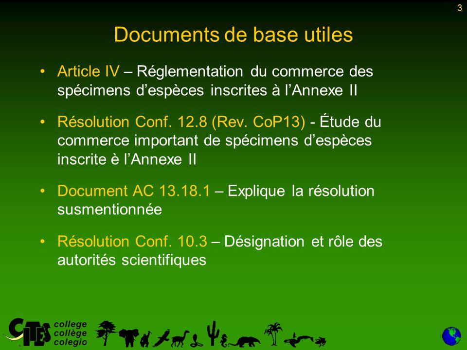 3 Documents de base utiles Article IV – Réglementation du commerce des spécimens d'espèces inscrites à l'Annexe II Résolution Conf.