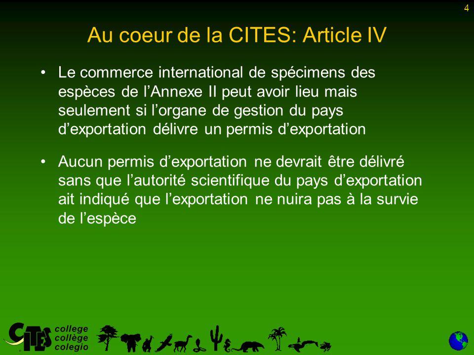 4 Au coeur de la CITES: Article IV Le commerce international de spécimens des espèces de l'Annexe II peut avoir lieu mais seulement si l'organe de gestion du pays d'exportation délivre un permis d'exportation Aucun permis d'exportation ne devrait être délivré sans que l'autorité scientifique du pays d'exportation ait indiqué que l'exportation ne nuira pas à la survie de l'espèce