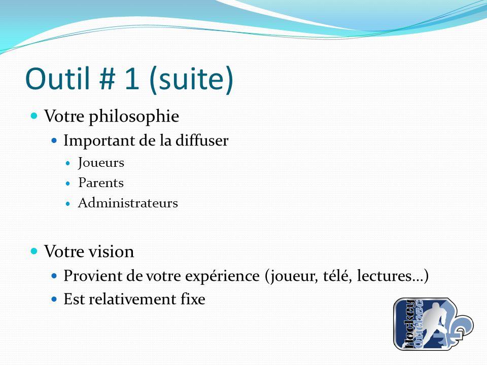 Outil # 1 (suite) Votre philosophie Important de la diffuser Joueurs Parents Administrateurs Votre vision Provient de votre expérience (joueur, télé,