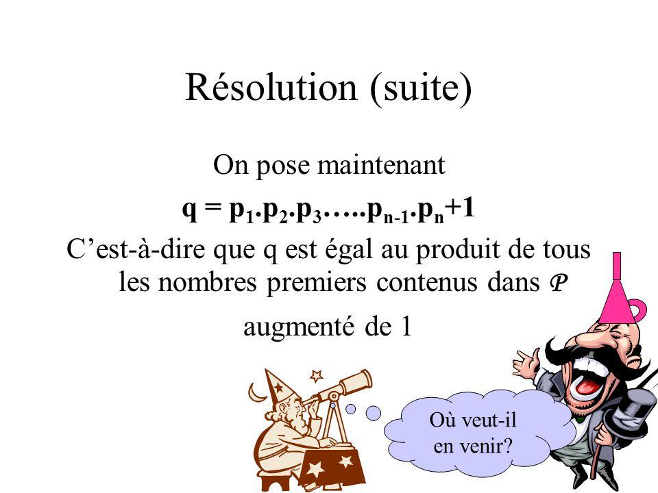 Résolution (suite) On pose maintenant q = p 1.p 2.p 3 …..p n-1.p n +1 C'est-à-dire que q est égal au produit de tous les nombres premiers contenus dan