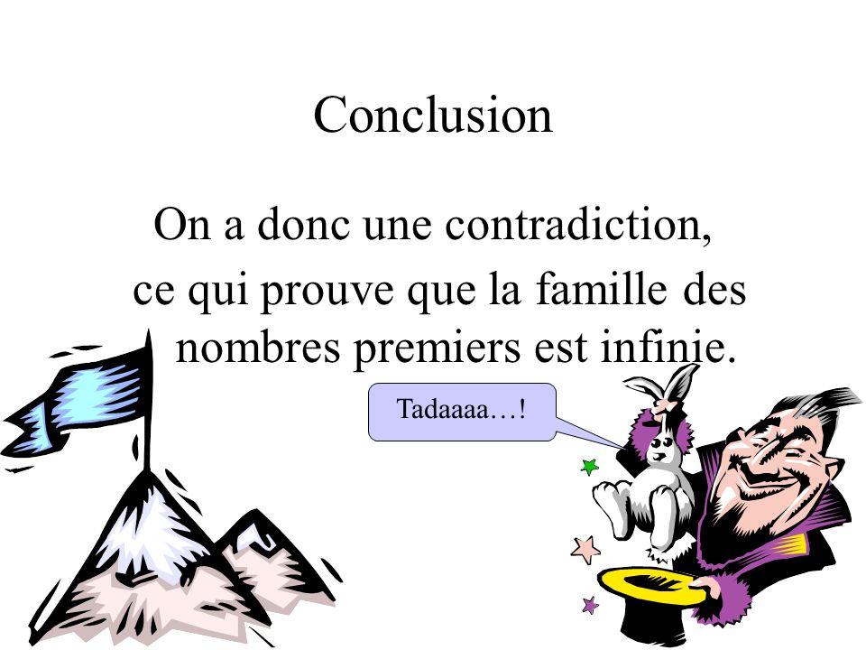 Conclusion On a donc une contradiction, ce qui prouve que la famille des nombres premiers est infinie. Tadaaaa…!