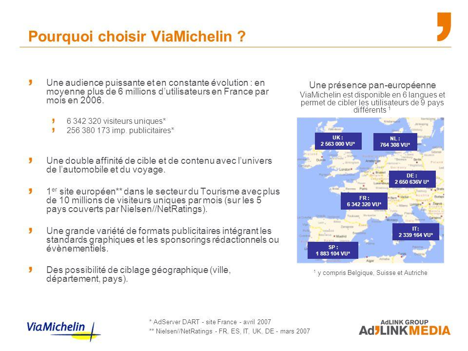 Pourquoi choisir ViaMichelin ? Une audience puissante et en constante évolution : en moyenne plus de 6 millions d'utilisateurs en France par mois en 2