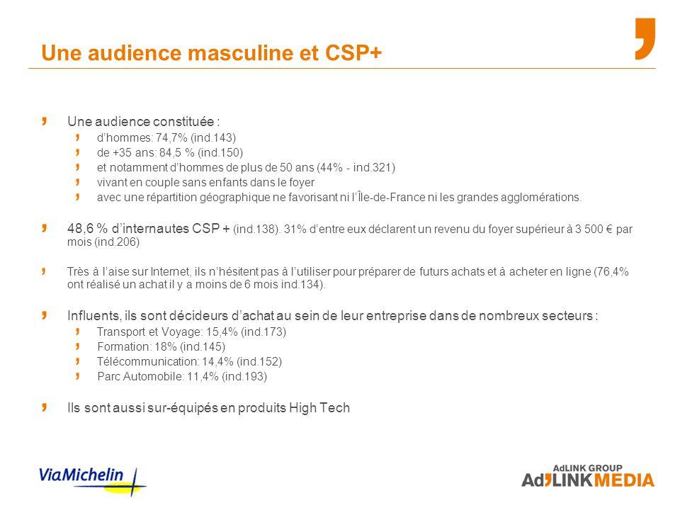Une audience masculine et CSP+ Une audience constituée : d'hommes: 74,7% (ind.143) de +35 ans: 84,5 % (ind.150) et notamment d'hommes de plus de 50 an