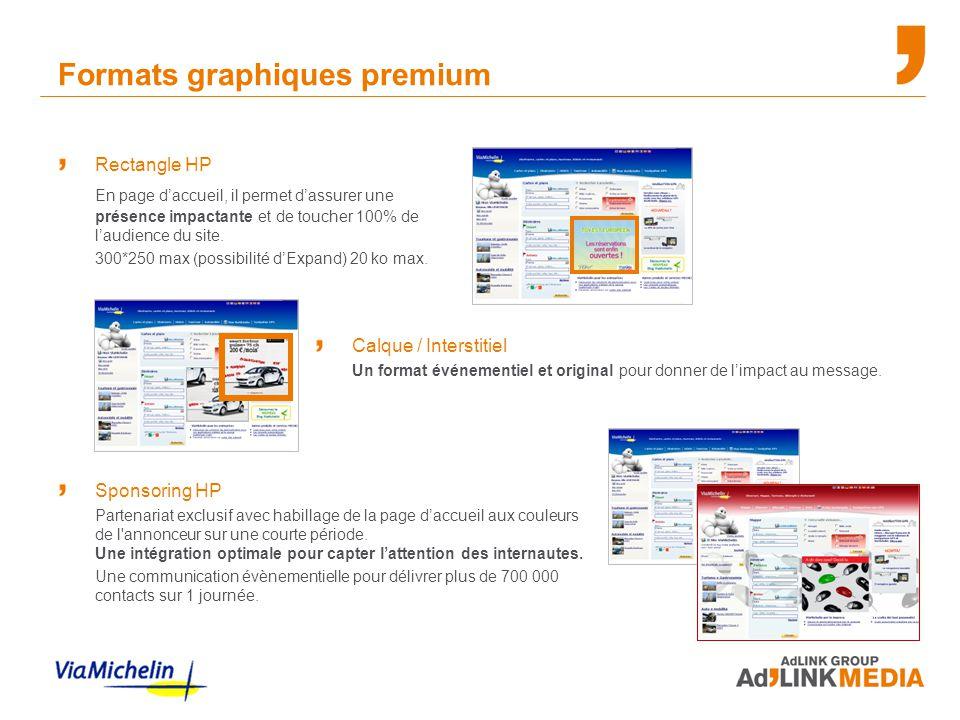 Formats graphiques premium Rectangle HP En page d'accueil, il permet d'assurer une présence impactante et de toucher 100% de l'audience du site. 300*2