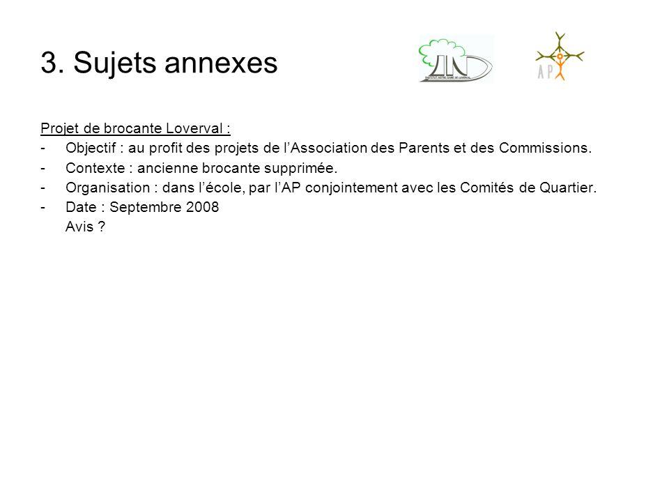 3. Sujets annexes Projet de brocante Loverval : -Objectif : au profit des projets de l'Association des Parents et des Commissions. -Contexte : ancienn