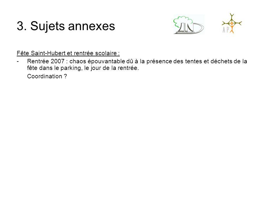 3. Sujets annexes Fête Saint-Hubert et rentrée scolaire : -Rentrée 2007 : chaos épouvantable dû à la présence des tentes et déchets de la fête dans le