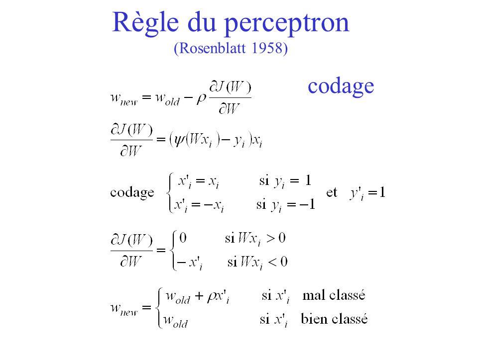 Règle du perceptron (Rosenblatt 1958) codage