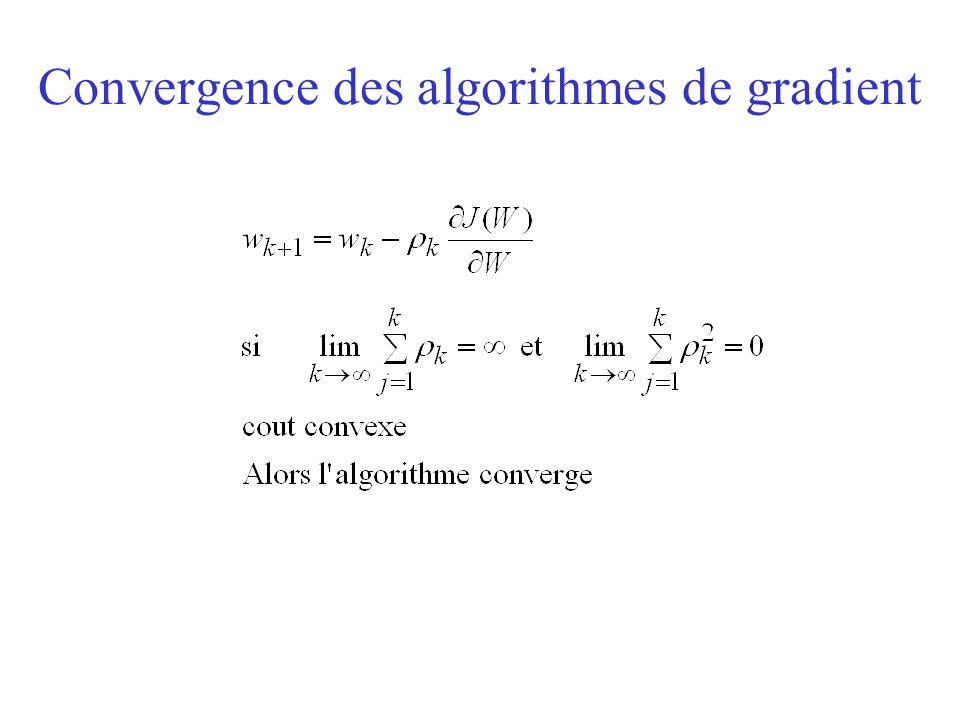 Convergence des algorithmes de gradient