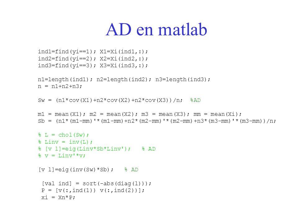 AD en matlab ind1=find(yi==1); X1=Xi(ind1,:); ind2=find(yi==2); X2=Xi(ind2,:); ind3=find(yi==3); X3=Xi(ind3,:); n1=length(ind1); n2=length(ind2); n3=l