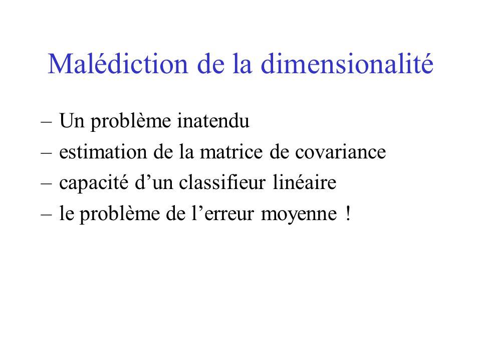 Malédiction de la dimensionalité –Un problème inatendu –estimation de la matrice de covariance –capacité d'un classifieur linéaire –le problème de l'e