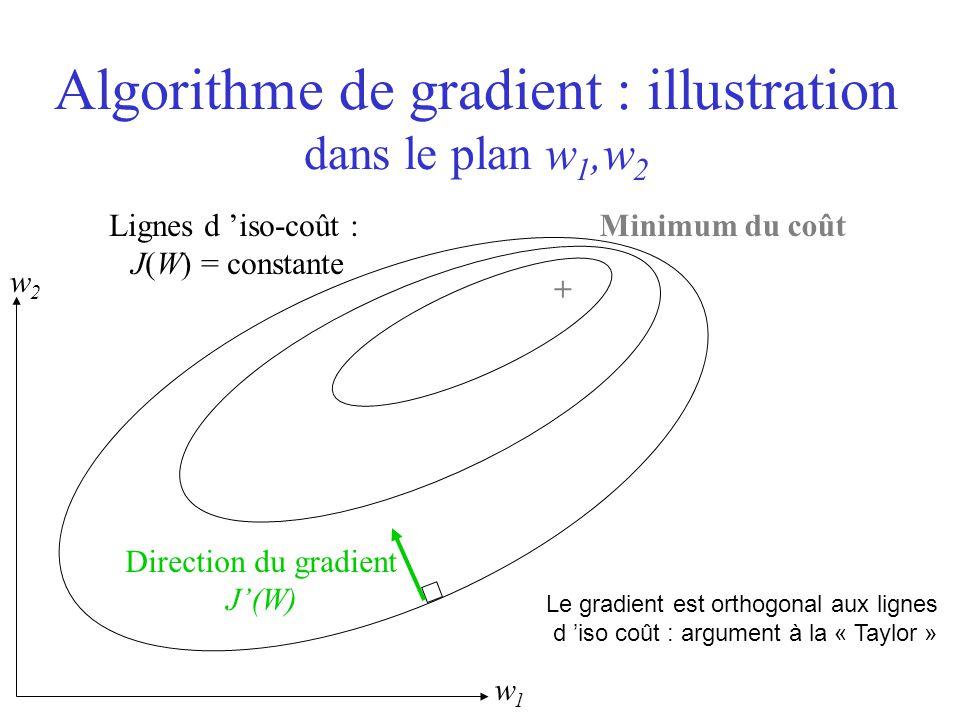 Le gradient est orthogonal aux lignes d 'iso coût : argument à la « Taylor » Algorithme de gradient : illustration dans le plan w 1,w 2 + Minimum du c