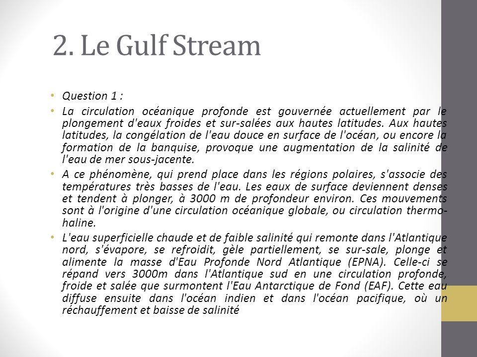 2. Le Gulf Stream Question 1 : La circulation océanique profonde est gouvernée actuellement par le plongement d'eaux froides et sur-salées aux hautes