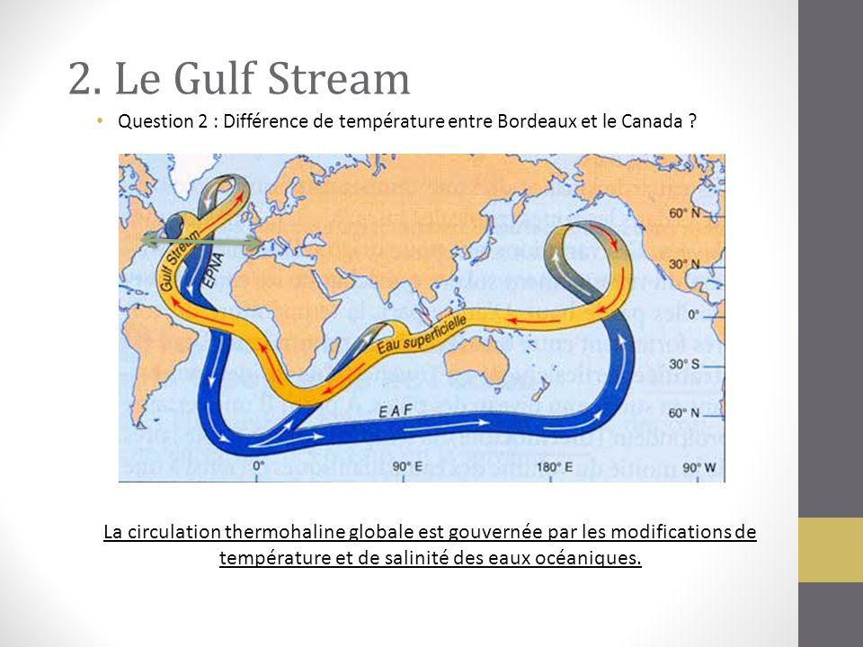 2. Le Gulf Stream La circulation thermohaline globale est gouvernée par les modifications de température et de salinité des eaux océaniques. Question
