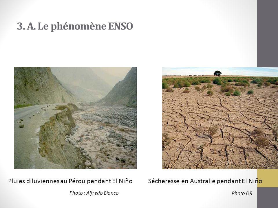 3. A. Le phénomène ENSO Pluies diluviennes au Pérou pendant El NiñoSécheresse en Australie pendant El Niño Photo : Alfredo Bianco Photo DR