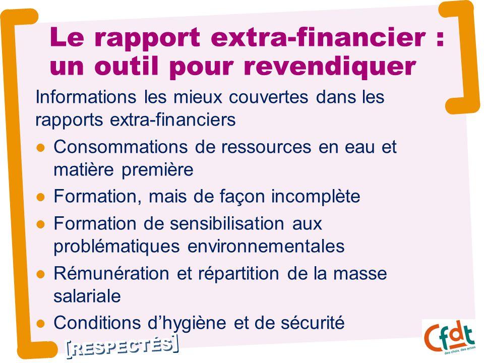 RESPECTÉS Le rapport extra-financier : un outil pour revendiquer Informations les mieux couvertes dans les rapports extra-financiers Consommations de