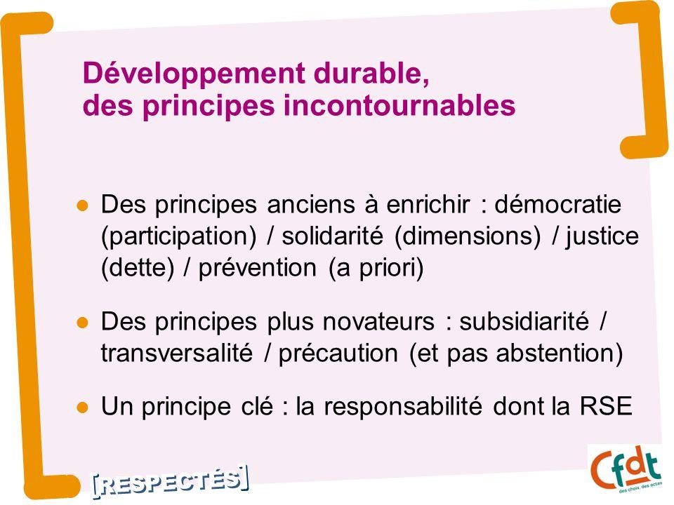 RESPECTÉS Développement durable, des principes incontournables Des principes anciens à enrichir : démocratie (participation) / solidarité (dimensions) / justice (dette) / prévention (a priori) Des principes plus novateurs : subsidiarité / transversalité / précaution (et pas abstention) Un principe clé : la responsabilité dont la RSE 3