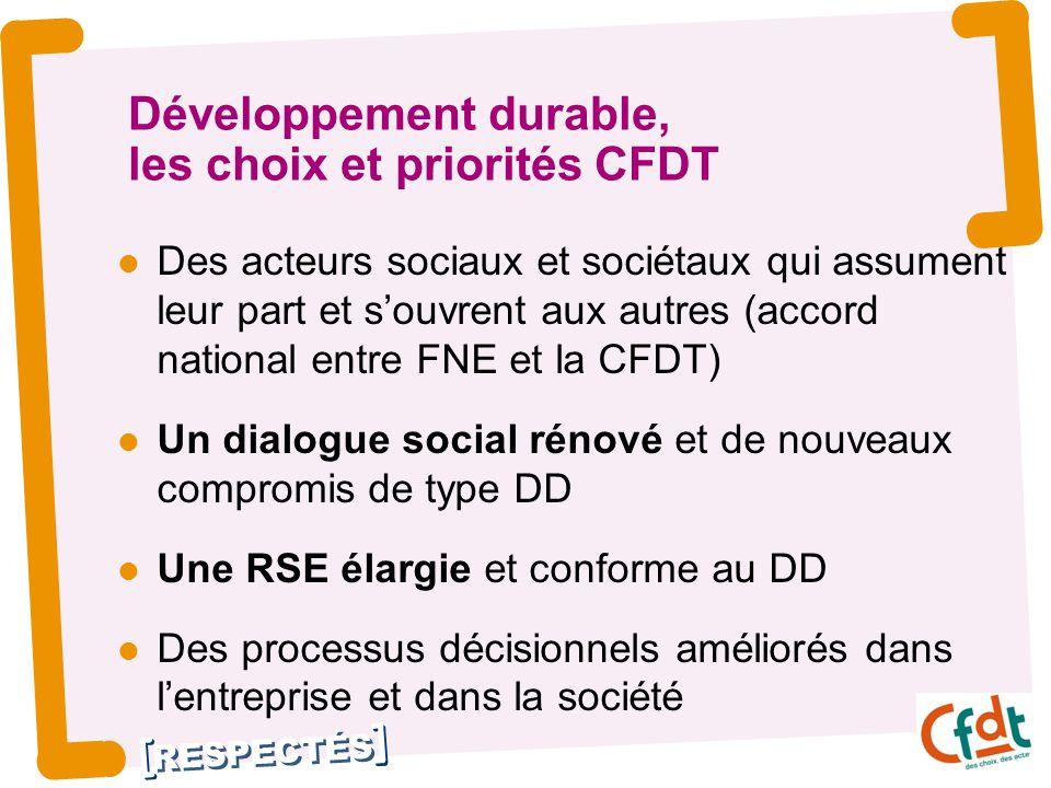 RESPECTÉS Développement durable, les choix et priorités CFDT Des acteurs sociaux et sociétaux qui assument leur part et s'ouvrent aux autres (accord n