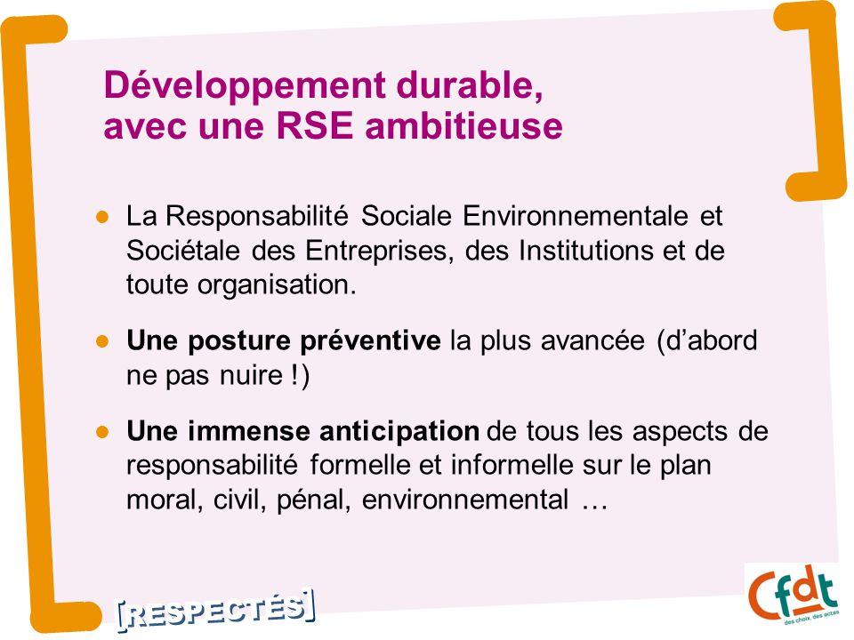 RESPECTÉS Développement durable, avec une RSE ambitieuse La Responsabilité Sociale Environnementale et Sociétale des Entreprises, des Institutions et