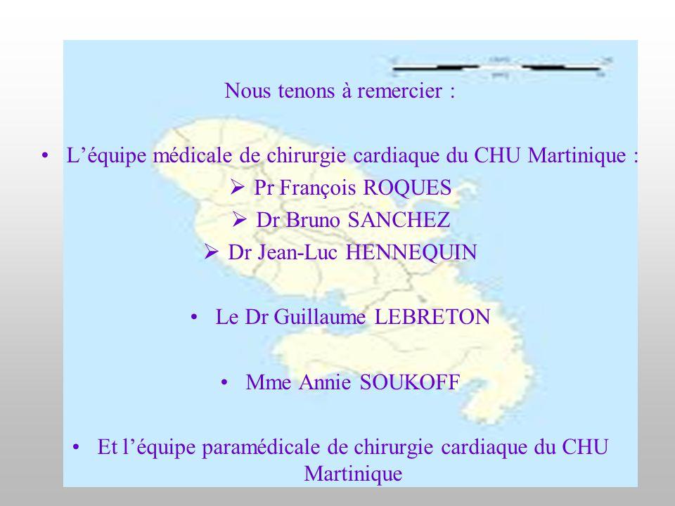 Nous tenons à remercier : L'équipe médicale de chirurgie cardiaque du CHU Martinique :  Pr François ROQUES  Dr Bruno SANCHEZ  Dr Jean-Luc HENNEQUIN