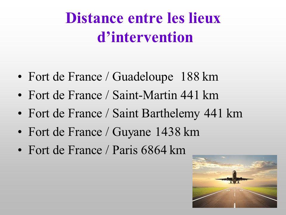 Distance entre les lieux d'intervention Fort de France / Guadeloupe 188 km Fort de France / Saint-Martin 441 km Fort de France / Saint Barthelemy 441