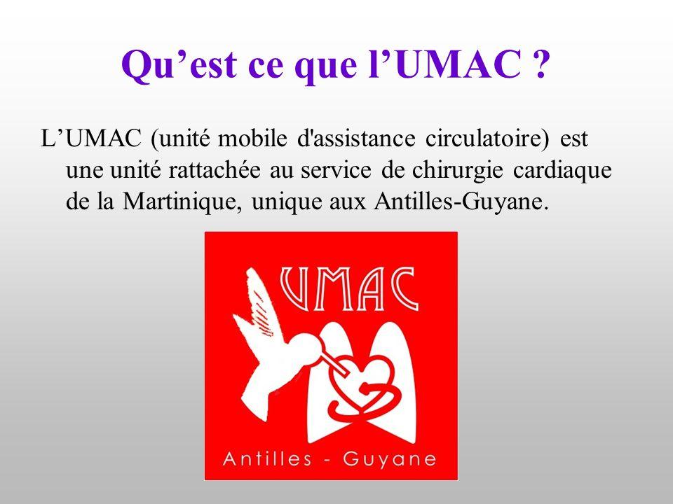 Qu'est ce que l'UMAC ? L'UMAC (unité mobile d'assistance circulatoire) est une unité rattachée au service de chirurgie cardiaque de la Martinique, uni