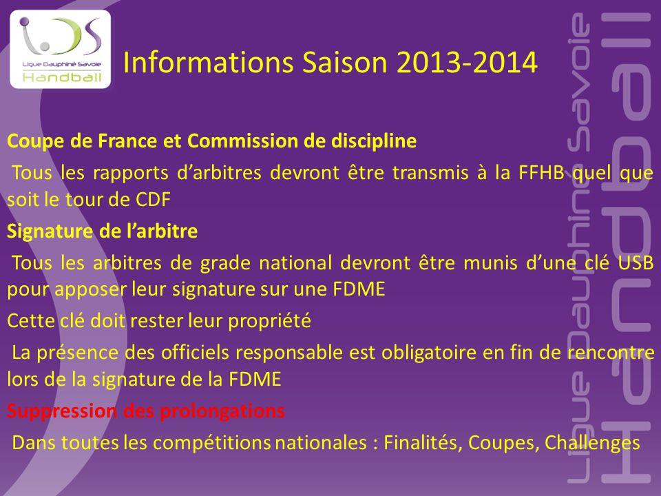 Informations Saison 2013-2014 Coupe de France et Commission de discipline Tous les rapports d'arbitres devront être transmis à la FFHB quel que soit l