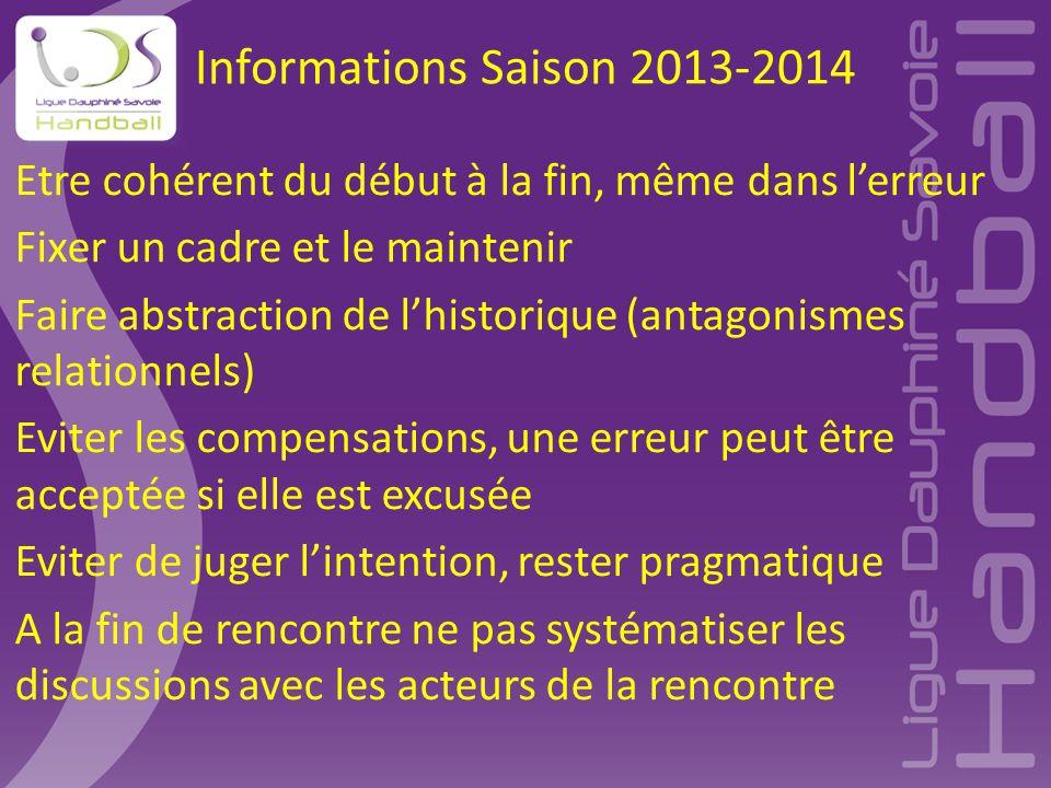 Informations Saison 2013-2014 Etre cohérent du début à la fin, même dans l'erreur Fixer un cadre et le maintenir Faire abstraction de l'historique (an